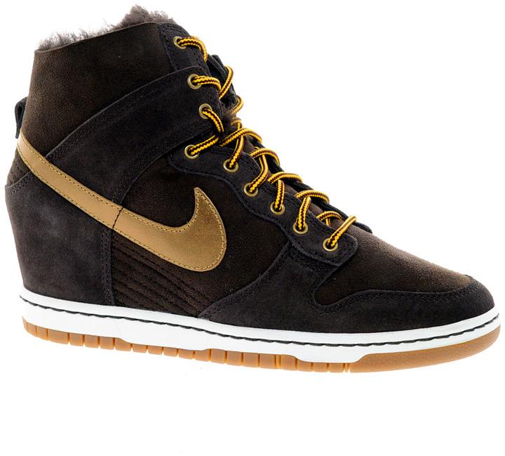Nike Dunk Sky High Brown Sheepskin Wedge Sneakers