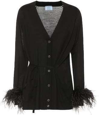 Prada Feather-trimmed wool cardigan