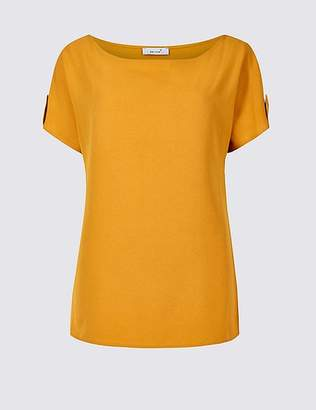 Marks and Spencer Woven Front Round Neck Short Sleeve Top