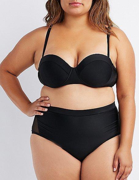 Plus Size Mesh-Trim Push-Up Bikini Top