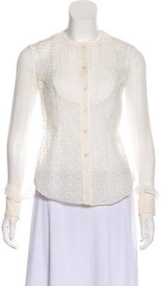 Zac Posen Embroidered Long Sleeve Top