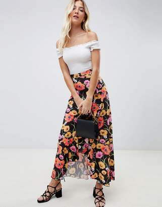 Asos DESIGN wrap maxi skirt with ruffle and tie in floral print