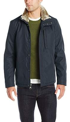 Andrew Marc Men's Kips Bay City Rain Jacket with Faux Fur Trim Collar