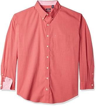 Izod Men's Size Premium Essential Tattersal Long Sleeve Shirt (Big Tall Slim)