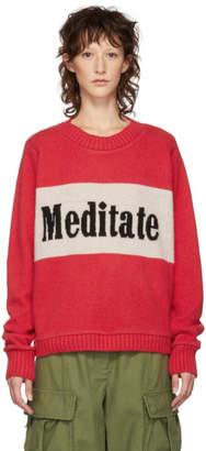The Elder Statesman Red Meditate Regular Crewneck Sweater