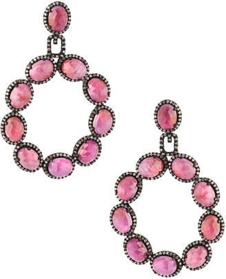 Bavna Pink Sapphire Hoop Drop Earrings