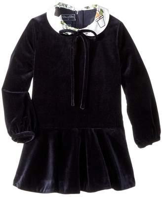 Oscar de la Renta Childrenswear Long Sleeve Velvet Flare Dress Girl's Dress