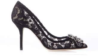 Dolce & Gabbana 90mm Bellucci Black Lace & Swarovski Pumps