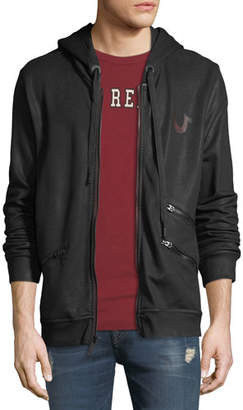 True Religion Men's Coated Zip-Front Hoodie Jacket
