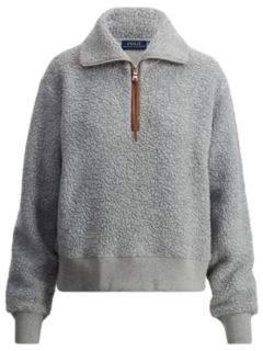Ralph Lauren Fleece Half-Zip Pullover Soft Flannel Heather S
