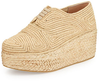 Robert Clergerie Pinto Flatform Lace-Up Shoe, Natural $550 thestylecure.com