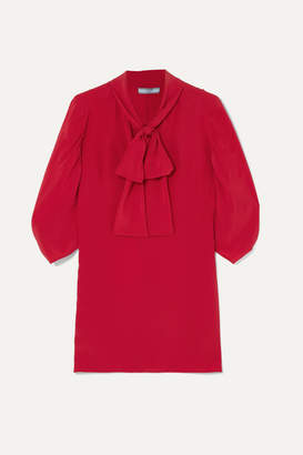 Prada Pussy-bow Silk Crepe De Chine Blouse - Red