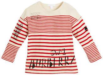 Burberry Stripe & Scribble Long-Sleeve Shirt, Size 4-14