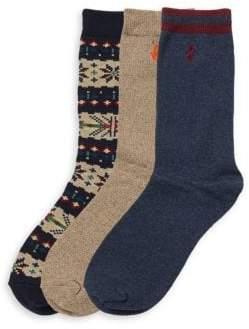 Boy's Three-Pack Fair Isle Sock Set