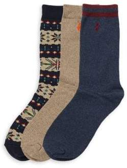 Ralph Lauren Boy's Three-Pack Fair Isle Sock Set