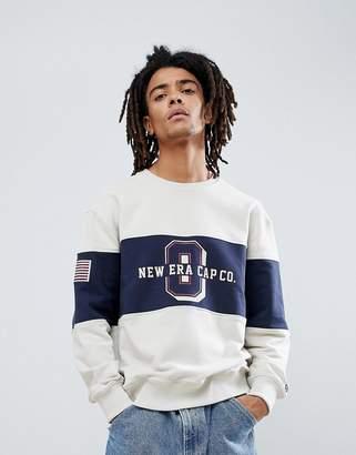 New Era Sweatshirt With Panel World Logo In Stone