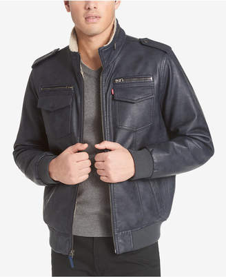 Levi's Men Faux-Leather Aviator Bomber Jacket with Fleece Lining