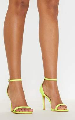 PrettyLittleThing Neon Lime Thin Strap Square Toe Strappy Sandal