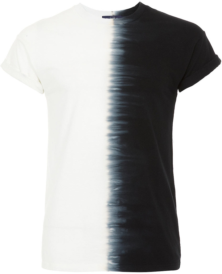 Topman Black Half Tiedye High Roll T-Shirt