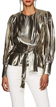 LES COYOTES DE PARIS Women's Kara Silk-Blend Lamé Peplum Blouse - Gold