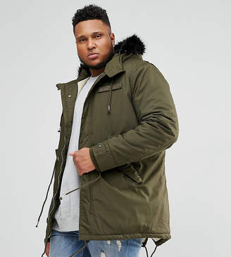 Schott PLUS M51 Fishtail Parka Hooded Detachable Faux Fur Trim in Green/Black