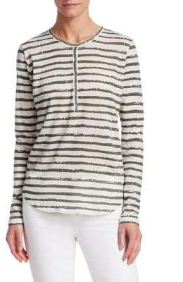 Majestic Filatures Men's Vintage Stripe Henley T-Shirt - Milk Khaki - Size 3 (Medium)