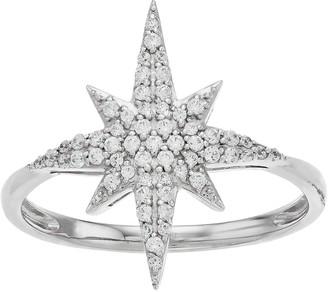 Vera Wang Simply Vera Sterling Silver 1/4 Carat T.W. Diamond Starburst Ring
