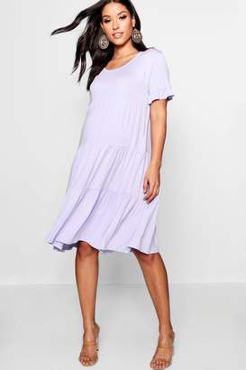 boohoo Maternity Tiered Ruffle Smock Dress