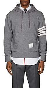Thom Browne Men's Block-Striped Cashmere-Cotton Hoodie-Gray