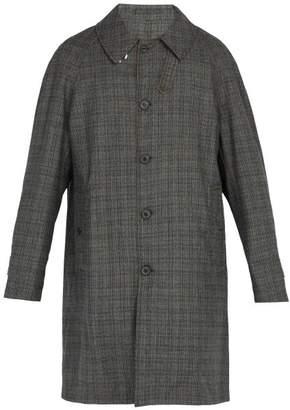 Lanvin Reversible Wool And Cotton Blend Raincoat - Mens - Dark Grey