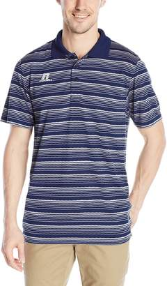Russell Athletic Men's Striped Jersey Golf Polo, Navy/White