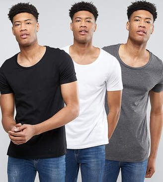 Asos Design TALL T-Shirt With Scoop Neck 3 Pack SAVE