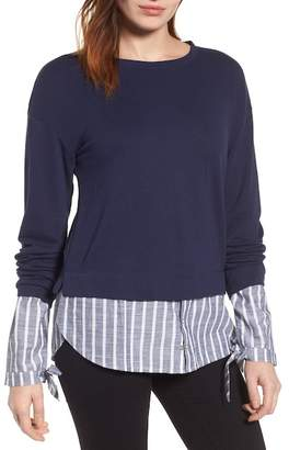 Caslon Woven Trim Layered Sweatshirt (Regular & Petite)