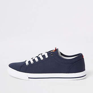 River Island Navy canvas lace-up plimsolls
