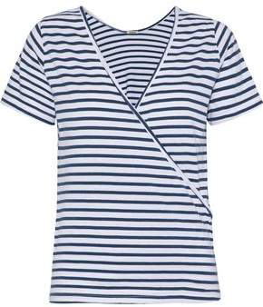 Monrow Wrap-Effect Striped Cotton And Modal-Blend Jersey T-Shirt