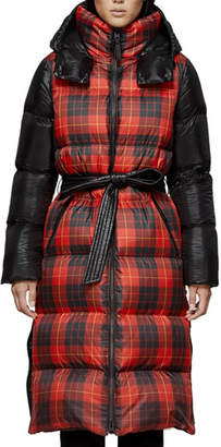 Mackage Haiko Buffalo Plaid Long Puffer Coat