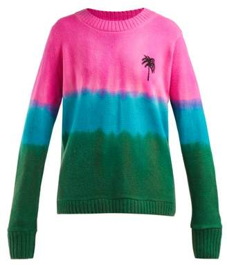 The Elder Statesman Palm Tree Tie Dyed Cashmere Sweater - Womens - Blue Multi