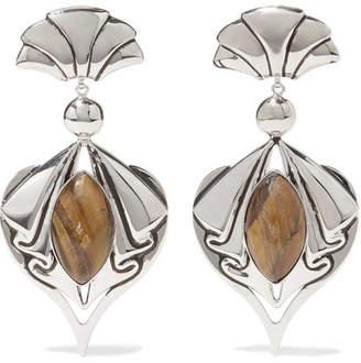 Etro Silver-tone Tiger Eye Clip Earrings