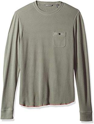 Michael Bastian Men's Long Sleeve Honeycomb Thermal Crewneck Knit Shirt