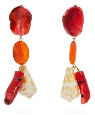 Carolina Herrera Stone & Shell Charm Drop Earrings - Womens - Orange