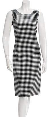 Oscar de la Renta Checkered Print Sleeveless Sheath Dress w/ Tags