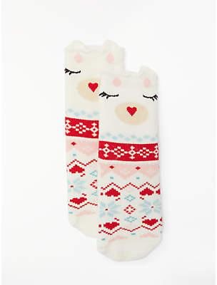 John Lewis & Partners Children's Polar Bear Fair Isle Socks, Cream/Red