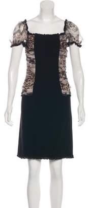 Blumarine Animal Print Silk-Trimmed Dress Black Animal Print Silk-Trimmed Dress