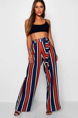 boohoo Petite Bright Stripe Belted Wide Leg Trouser