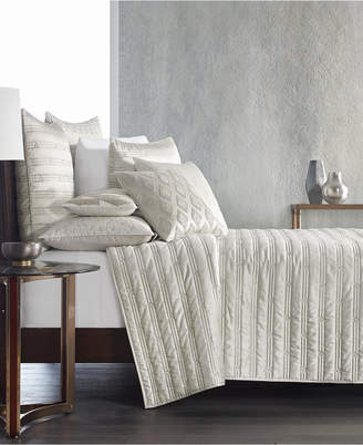 Hotel Collection Gilded Geo Embroidered Quilted King Coverlet, Created for Macy's Bedding