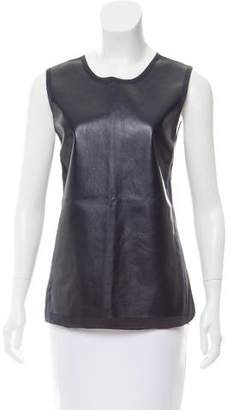 Vince Leather-Paneled Short Sleeve Top