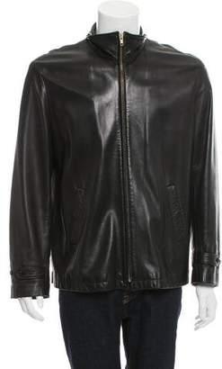 Ralph Lauren Purple Label Leather Zip-Up Jacket