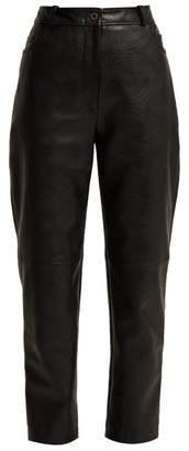 Stella McCartney High Waisted Faux Leather Trousers - Womens - Black