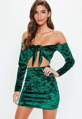 Missguided Green Crushed Velvet Crop Top Mini Skirt Set, Teal