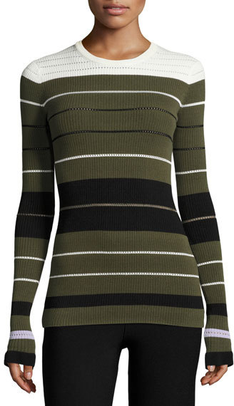 Opening CeremonyOpening Ceremony Striped Ribbed Crewneck Pullover Sweater, Olive